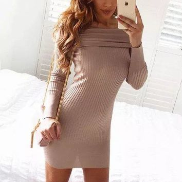 Sweater Slim Knit One Piece Dress [22397255706]