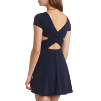 CRISSCROSS BACK SHORT SLEEVE SKATER DRESS