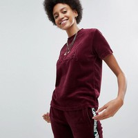 Fila Oversized T-Shirt In Velour With Tonal Chest Logo at asos.com