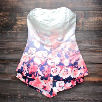 unconditional love floral perfection strapless romper
