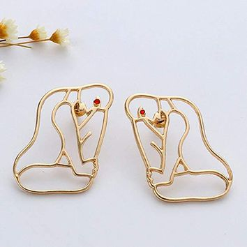 Gold Abstract Art Body At Rest Earrings