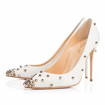 Rivets Pointed Toe PU Stiletto High Heels Party Shoes