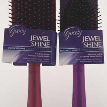 Goody Jewel Shine Enhanced Hairbrush Set 2 Tourmaline Infused Metallic Sleek NEW