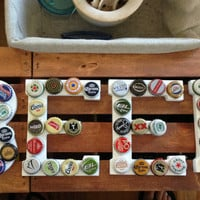 "Beer Bottle Cap Sign ""Beer"" - White"