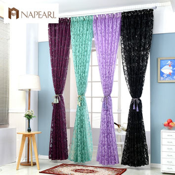Red curtains window treatments semi-blackout curtains 3d fashion design modern curtains for living room