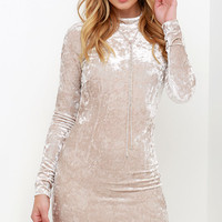Oh, Behave! Beige Velvet Bodycon Dress