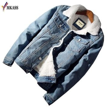 MKASS Men Jacket and Coat Trendy Warm Fleece Denim Jacket Winter Fashion Mens Jean Jacket Outwear Male Cowboy Plus Size 6XL