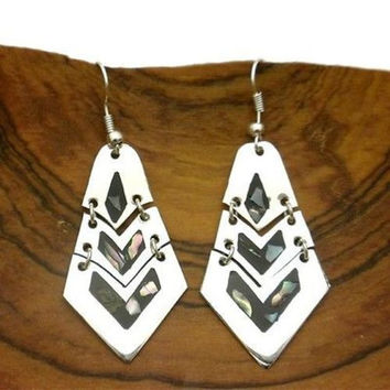Handmade Articulated Mother of Pearl Inlay Alpaca Silver Earrings Mexico Art