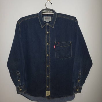 Vintage Zippo Casual Clothes American Classic Denim Long Sleeve Shirt