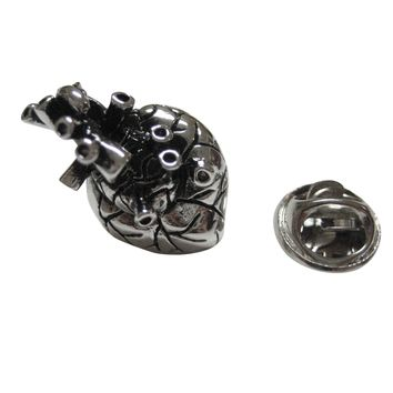 Silver Toned Anatomical Heart Lapel Pin