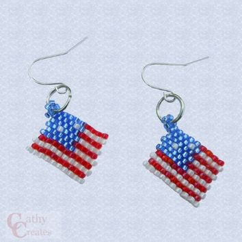 Earrings, hand stitched flags by CathyCreates.