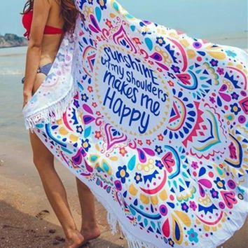 Floral Beach Covers-Up Beach Mat Swimsuit Cover Up Round Bikini Cover Up Bikini cover with Tassels