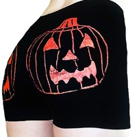 "Women's ""Jack-O-Lantern"" Shorts by Rockin' Bones (Black/Orange)"