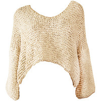 Mes Demoiselles Natural Knitted Cropped Sweater