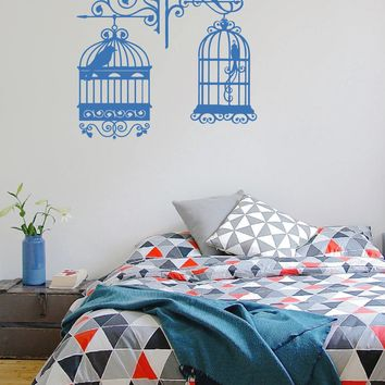 ik341 Wall Decal Sticker Decor bird cage kids bedroom