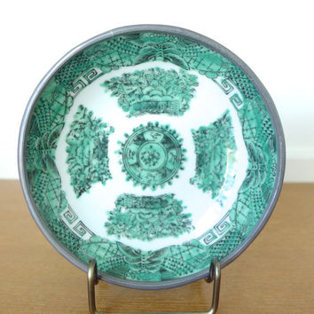 Vintage green Y T Japanese Porcelain wares pewter clad porcelain bowl hand decorated in Hong Kong
