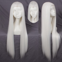 Front Styled White 80cm,100cm Long Straight Synthetic Cosplay Hair Wig