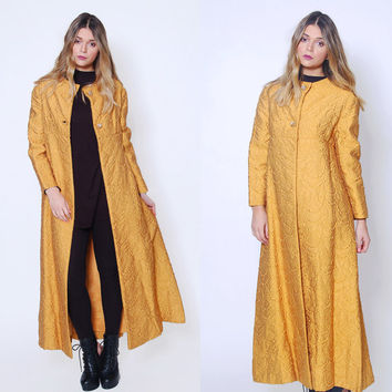 Vintage 50s BROCADE Coat Mustard EVENING Coat RHINESTONE Button Jacket Vintage Formal Coat