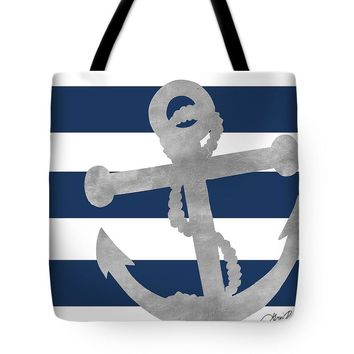 Silver Anchor Coastal On Blue Stripe I Tote Bag - Purse - Large Bag - Beach Bag