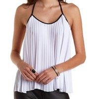 Accordion Pleat Backless Halter Top by Charlotte Russe - White Combo