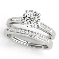 Channel Set Diamond Wedding Set Moissanite Center - Chloe