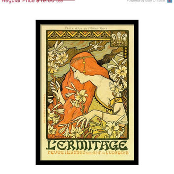"Spring sale 15% OFF Art Nouveau Advertisement by Paul Berthon Parisian L'Ermitage. 16""x23"""