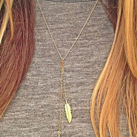 Golden Chain Leaf Drop Necklace