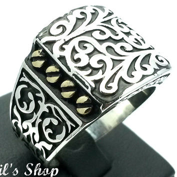 Men's Ring, Turkish Ottoman Style Jewelry, 925 Sterling Silver, Gift, Traditional Handmade, With Engraved Figures, US Size 12, New