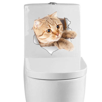 Original Cute Sticker! Funny Kitty! For Toilet, Fridge, Door Etc......