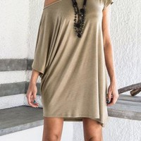 Khaki One Shoulder Loose Shirt Dress