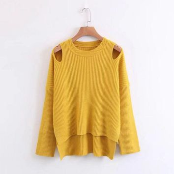 Bear Shoulder Cut Out Low High Solid Color Sweater
