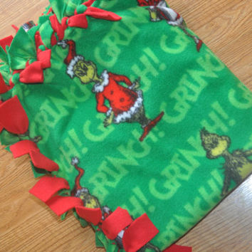 Grinch Fleece Blanket, How the grinch stole christmas, Dr. suess fleece blanket.  Ready to ship.