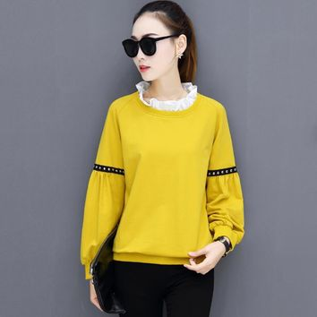 M-5XL Plus Size 2017 New Autumn Women Blouses Lantern Sleeve Casual Fake Two Pieces Women Shirts Ruffled Collar Loose Women Tops