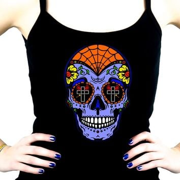 "Blue Sugar Skull Calavera Spaghetti Strap Shirt ""Dia De Los Muertos"" Day of the Dead"