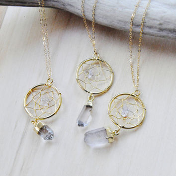 Dream Catcher Necklace, Boho Necklace, Gold necklace, Layering necklace, Crystal Necklace, Quartz Necklace