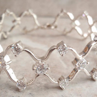 Sterling Wedding Bracelet Silver Clear Crystal CZs Vintage V0116