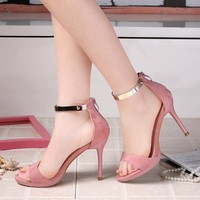 Stiletto Heel Peep-toe Metal Suede Ankle Strap Sandals