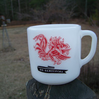 Vintage Milk Glass Coffee Cup--Fire King Coffee Mug--University of South Carolina--USC--Carolina Gamecock--College Souvenir--Southern Charm