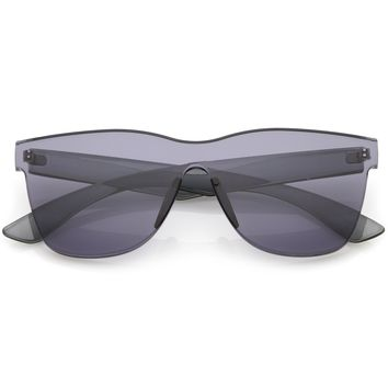 Retro Modern Rimless Horned Rim Mono Block PC Sunglasses C463
