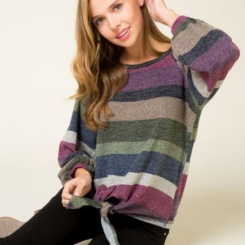 Multi-color Striped Top with Front Tie - Purple/Navy/Olive