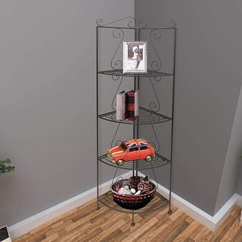4 Tier Metal Foldable Corner Bookcase with Decorative Scrolled Details, Black