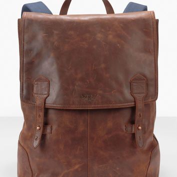 Crafted Leather Backpack - Brown