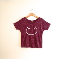 Maroon marble white cat head shirt, cat tee, cat tshirt, red cat shirt, gift for cat lover, teen girl apparel, crazy cat lady, gift for her