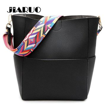 Luxury Brand Designer Bucket bag Women Leather Wide Color Strap Shoulder bag Handbag Large Capacity Crossbody bag For Shopping