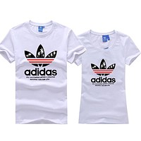 Adidas Summer Trending Women Men Casual Print Round Collar Sport Couple T-Shirt Top White