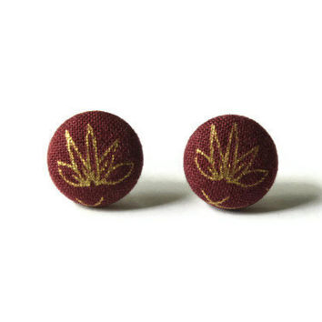 Gold Plant Drawing on Dark Red Maroon Fabric Covered Button Earrings