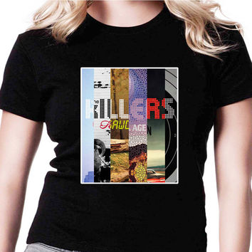 The Killers Band HND Womens T Shirts Black And White