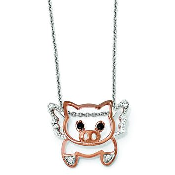 Cheryl M Sterling Silver Rose Gold Plated CZ Flying Pig 18in. Necklace