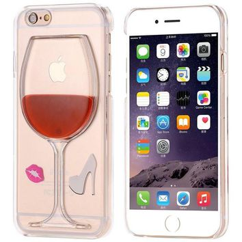 KISSCASE For iPhone 6 6S 6 6S Plus Case Ultra Crystal Clear Cover For iphone 6 6S Plus Wine Glass Liquid Hourglass Case Shell