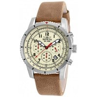 Invicta 18923 Men's Aviator Beige Dial Tan Leather Strap Chronograph Watch